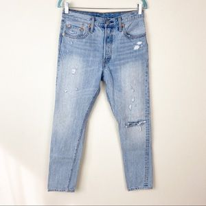 501 Levi's distressed button fly high rise jeans